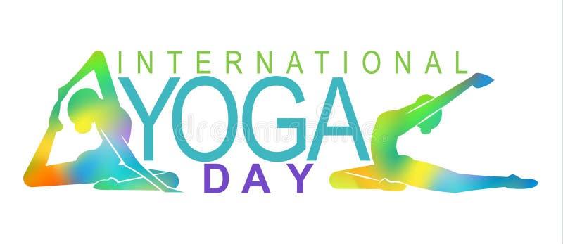 Счастливый международный день йоги с женщиной иллюстрация вектора