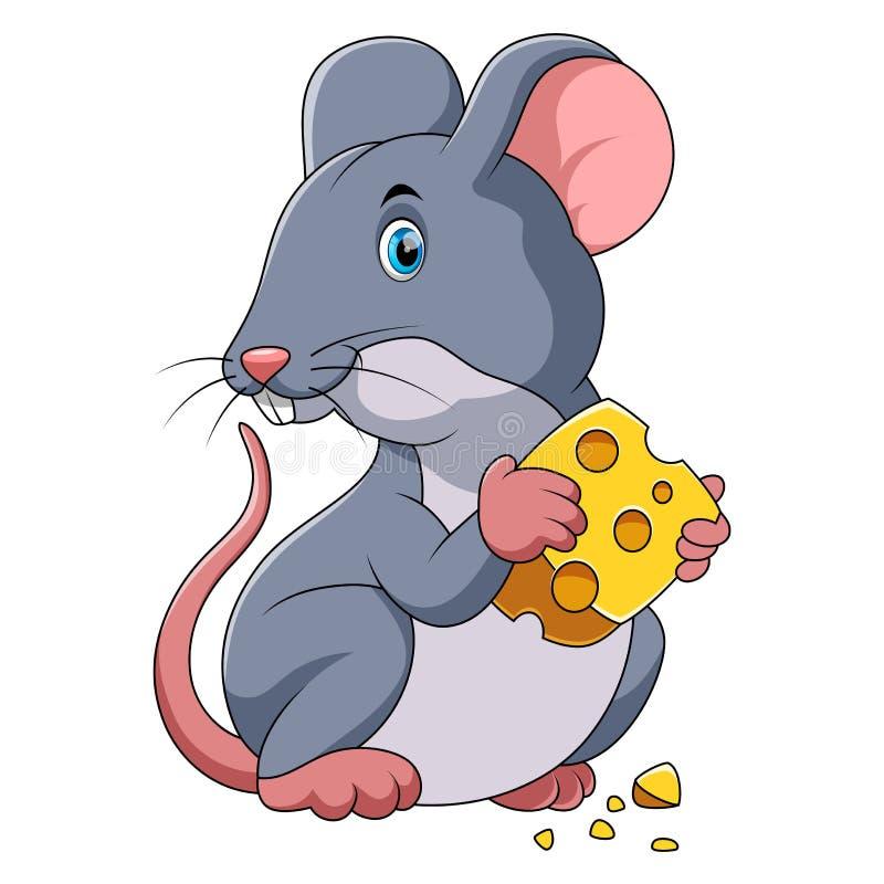 Счастливый мультфильм мыши с сыром иллюстрация вектора