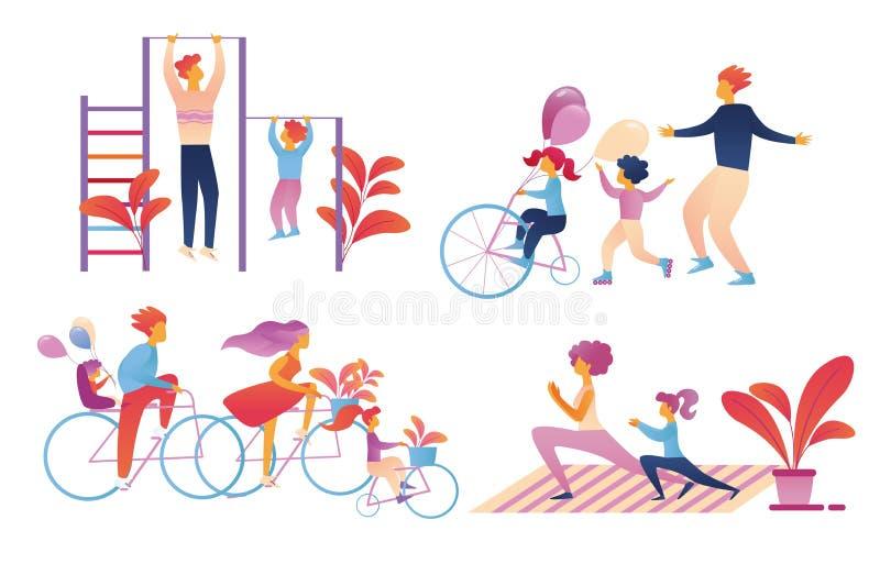 Счастливый набор деятельности при спорта семьи изолированный на бели иллюстрация вектора