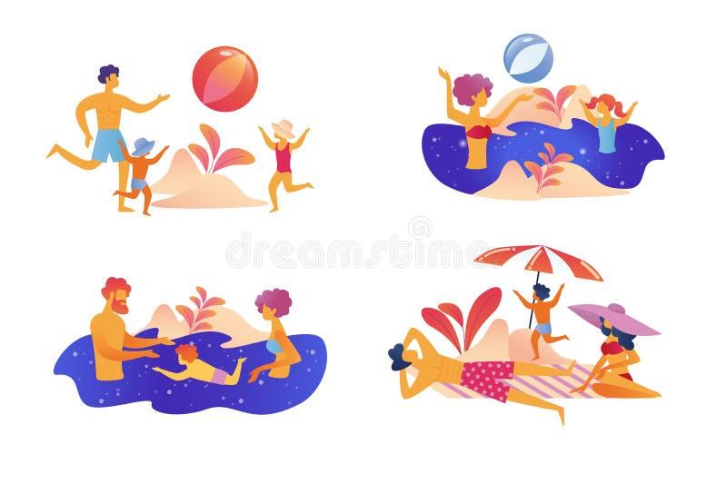 Счастливый набор летних каникулов семьи изолированный на белизне бесплатная иллюстрация