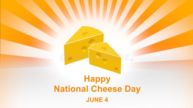 Счастливый национальный день сыра помечая буквами на красочной предпосылке солнечного луча Национальные плакат дня сыра и знамя,  иллюстрация вектора