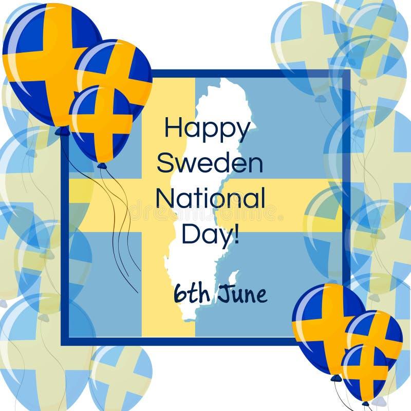 Счастливый национальный праздник Швеции, поздравительная открытка 6-ое июня с флагом конструировал воздушные шары, рамку, карту Ш иллюстрация штока