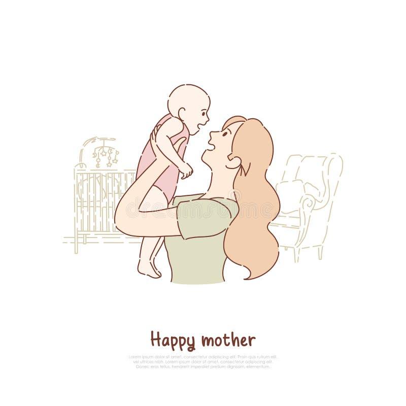 Счастливый новорожденный ребенок удерживания матери, жизнерадостная дама играя с малышом, женским счастьем, сидя с детьми, знамен иллюстрация вектора
