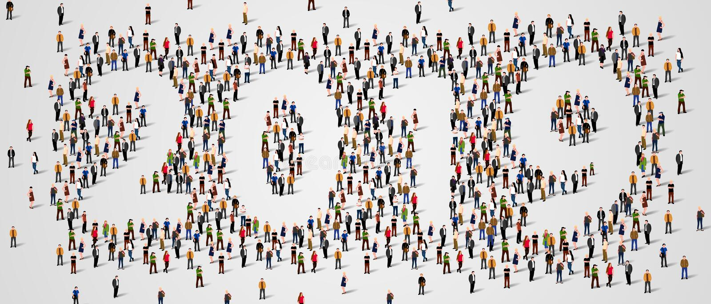 Счастливый Новый Год 2019 Большая и разнообразная группа людей собрала совместно в форме 2019 бесплатная иллюстрация