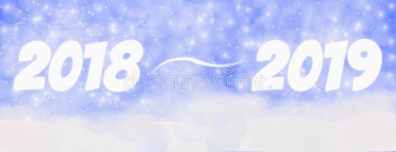 Счастливый Новый Год 2018 до зима 2019 на открытом воздухе с падая снежинкой иллюстрация вектора