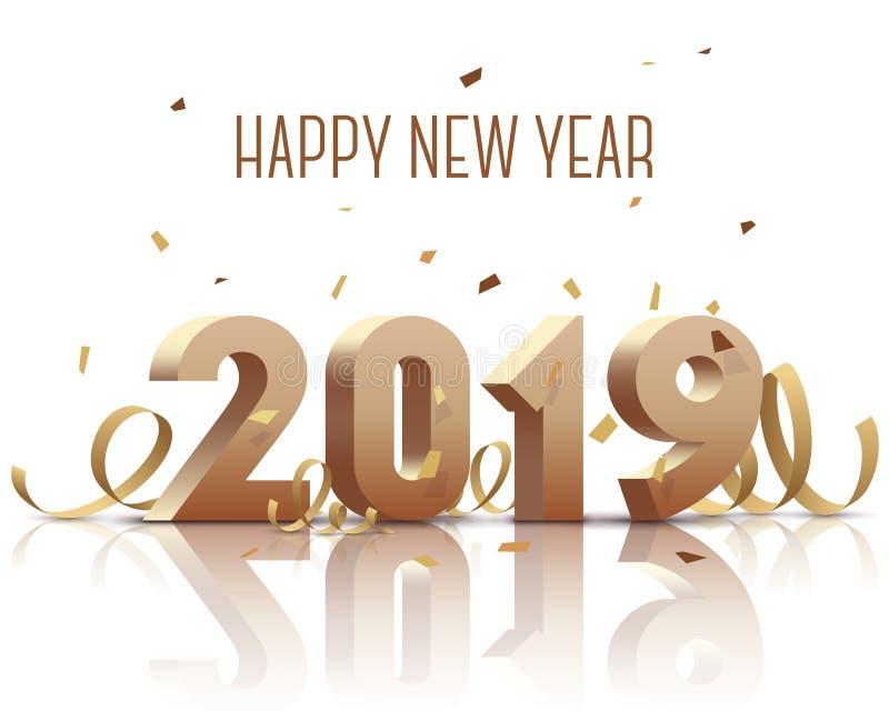 Счастливый Новый Год 2019 Золото 3D-numbers с лентами и confetti на белой предпосылке иллюстрация штока