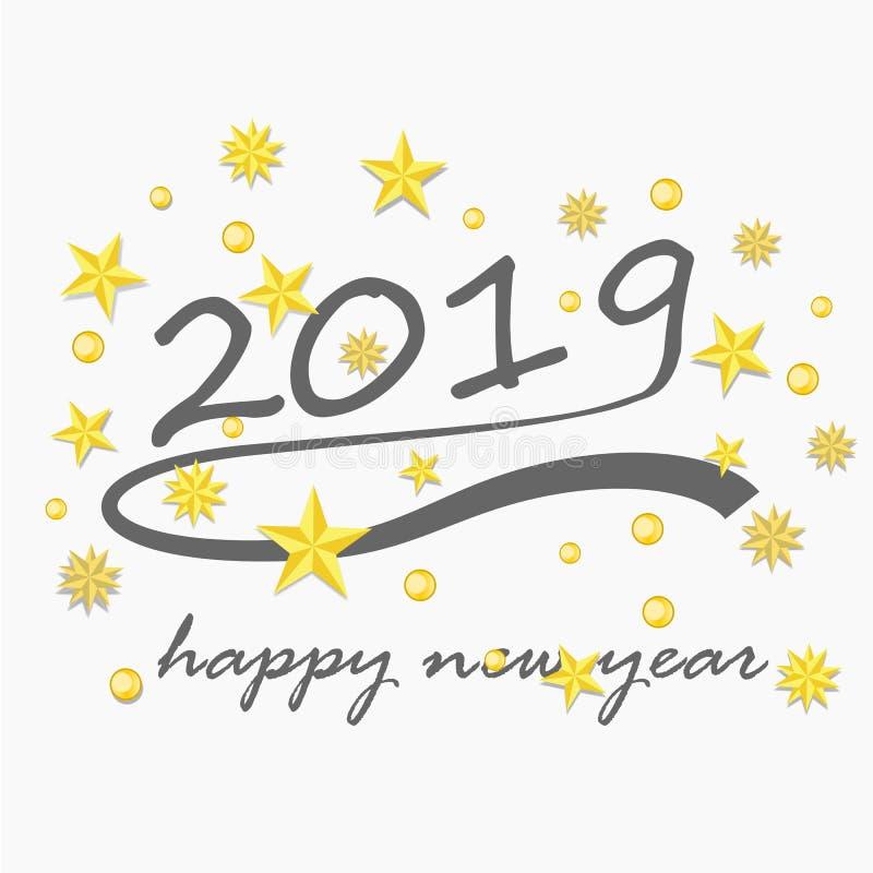 Счастливый Новый Год 2019 и поздравительная открытка иллюстрация штока