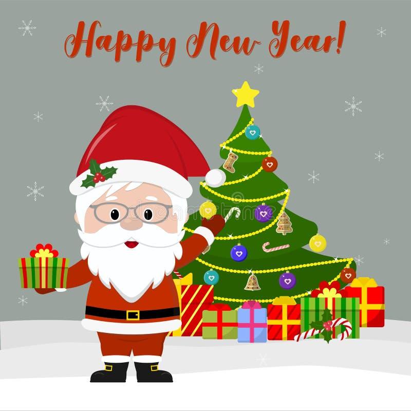 Счастливый Новый Год и с Рождеством Христовым поздравительная открытка Милый Санта Клаус в стеклах держит подарок, рядом с рождес иллюстрация штока