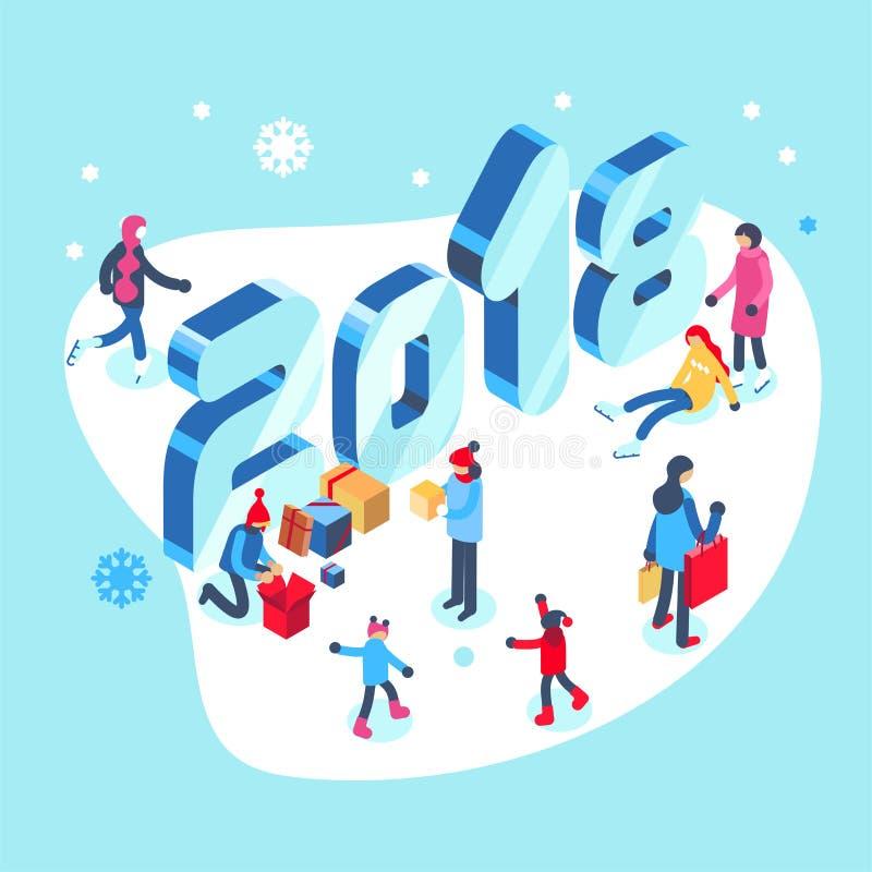 Счастливый Новый Год и с Рождеством Христовым рождественская открытка с досугами зимы внешними Равновеликая иллюстрация вектора бесплатная иллюстрация