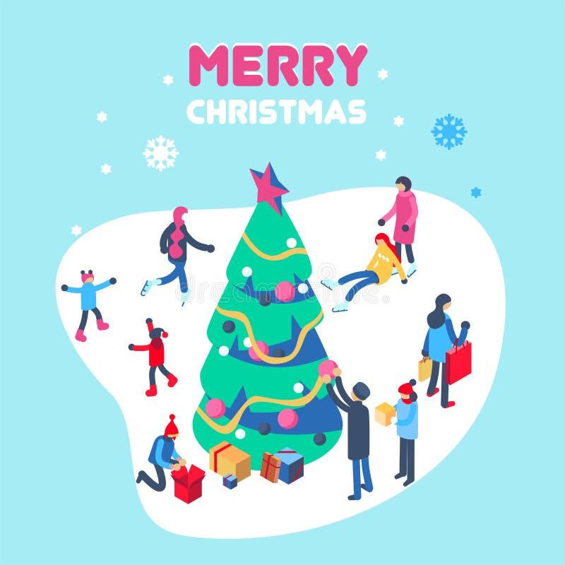 Счастливый Новый Год и с Рождеством Христовым рождественская открытка с досугами зимы внешними Равновеликая иллюстрация вектора иллюстрация штока