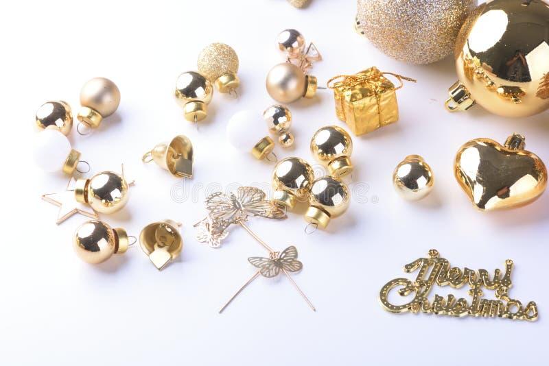 Счастливый Новый Год, рождество с шариками торжества и другое украшение стоковые фото