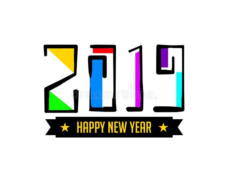 Счастливый Новый Год 2019, рука помечая буквами, иллюстрация вектора, декоративный дизайн на белой предпосылке для поздравительно иллюстрация вектора