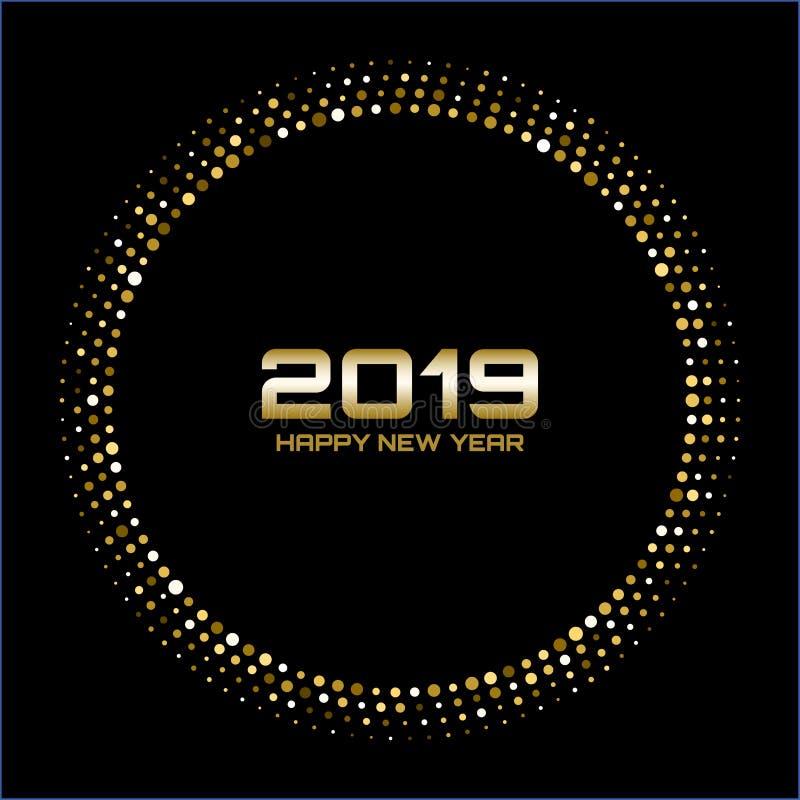 Счастливый Новый Год 2019 Света диско золота яркие Рамка круга полутонового изображения Счастливая предпосылка карточки Новый Год бесплатная иллюстрация