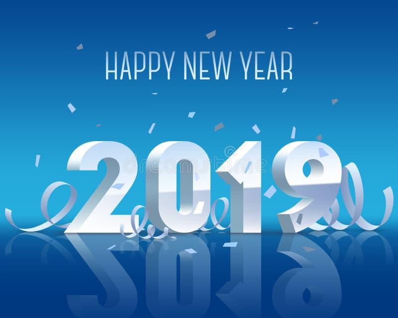 Счастливый Новый Год 2019 Серебряное 3D-numbers с лентами и confetti на белой предпосылке иллюстрация вектора