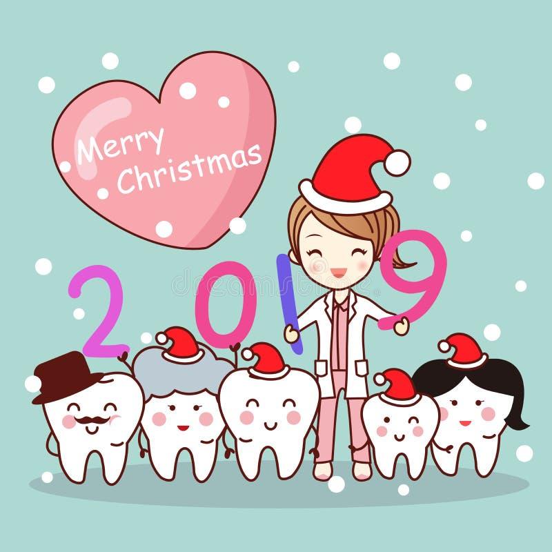 Счастливый Новый Год с дантистом иллюстрация штока