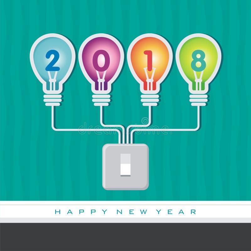 Счастливый Новый Год 2018 с иллюстрацией электрической лампочки иллюстрация вектора