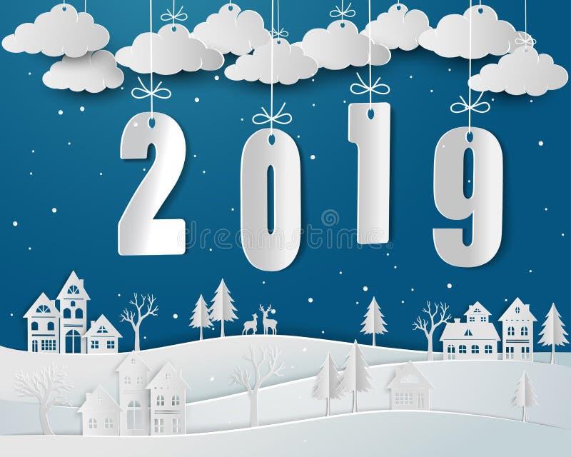 Счастливый Новый Год 2019 с сельской местностью снега городской в сезоне зимы иллюстрация вектора