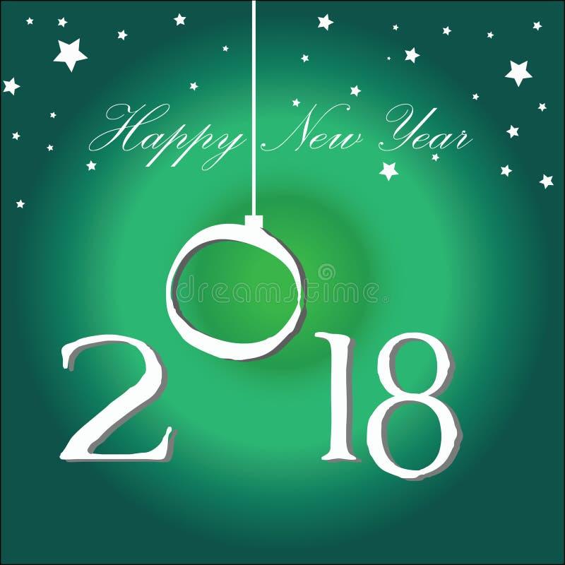 счастливый Новый Год с темой жизнерадостного гостеприимсва вечера поворот года с счастливым настроением иллюстрация вектора