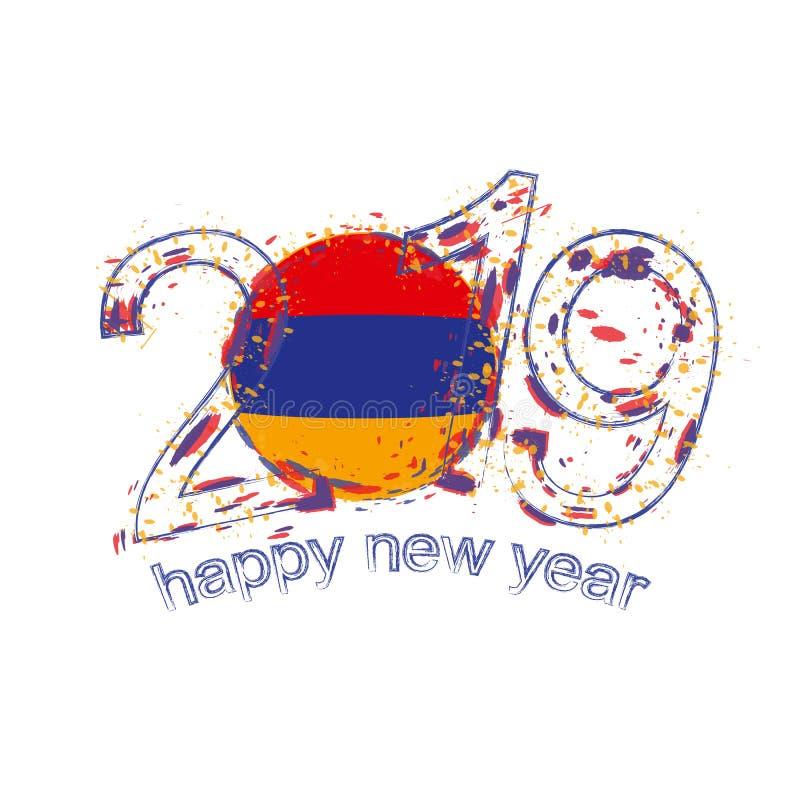 Счастливый новый 2019 год с флагом Армении Вектор grunge праздника иллюстрация штока