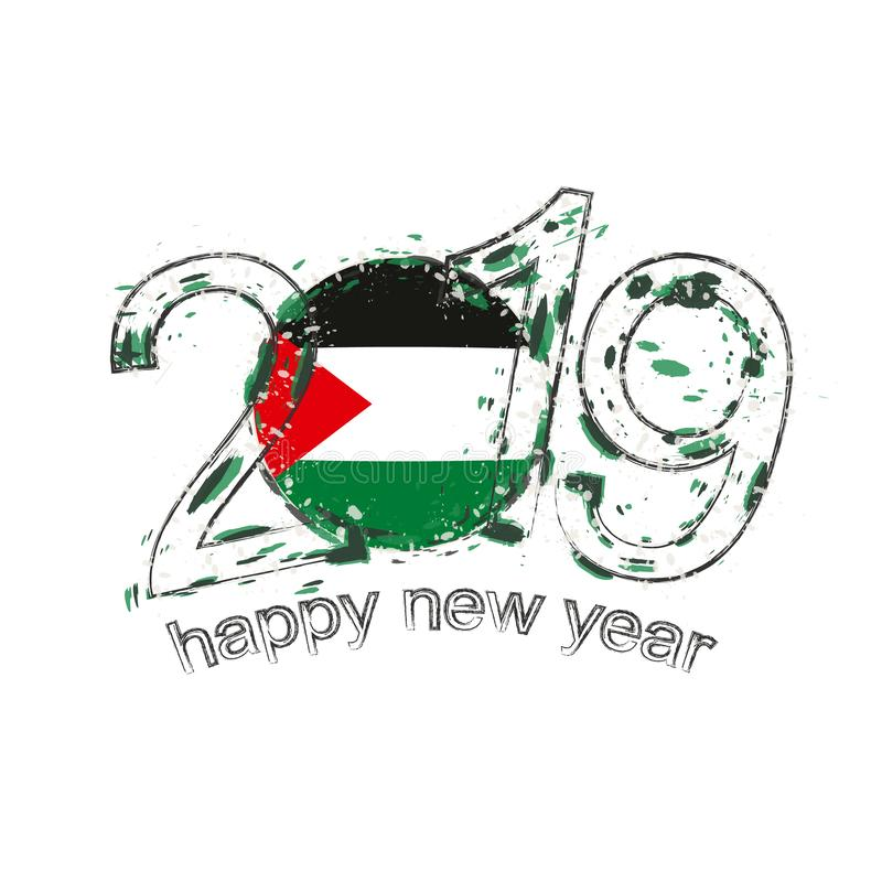 Счастливый новый 2019 год с флагом Палестины Vecto grunge праздника иллюстрация вектора
