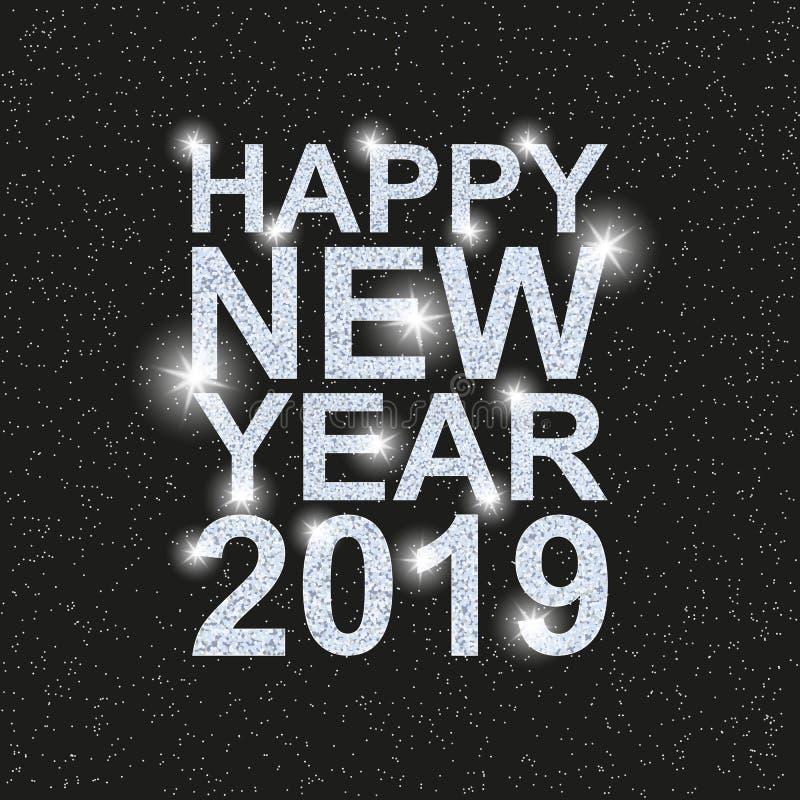 Счастливый Новый Год 2019 Текст с серебряными sequins иллюстрация вектора