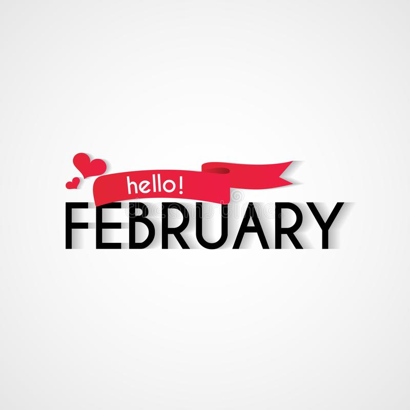 Счастливый новый дизайн предпосылки в феврале месяца иллюстрация вектора