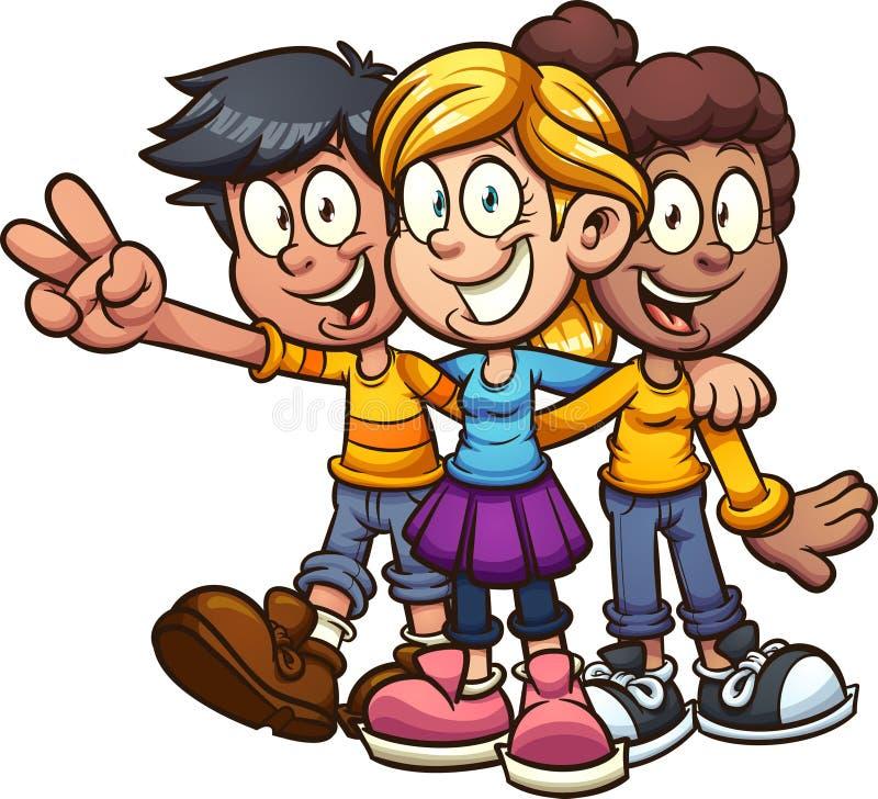Счастливый обнимать друзей детей мультфильма иллюстрация штока