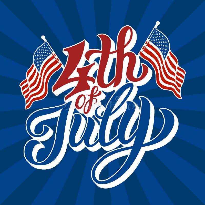 Счастливый 4-ое -го июль - День независимости иллюстрация штока
