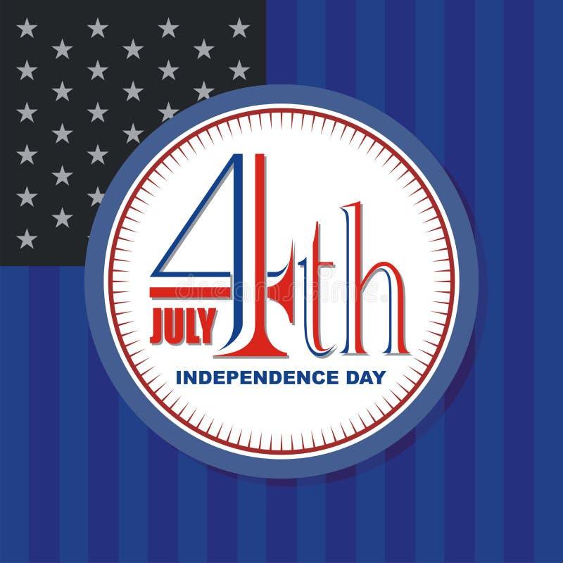 Счастливый 4-ое -го июль, дизайн вектора Дня независимости США бесплатная иллюстрация