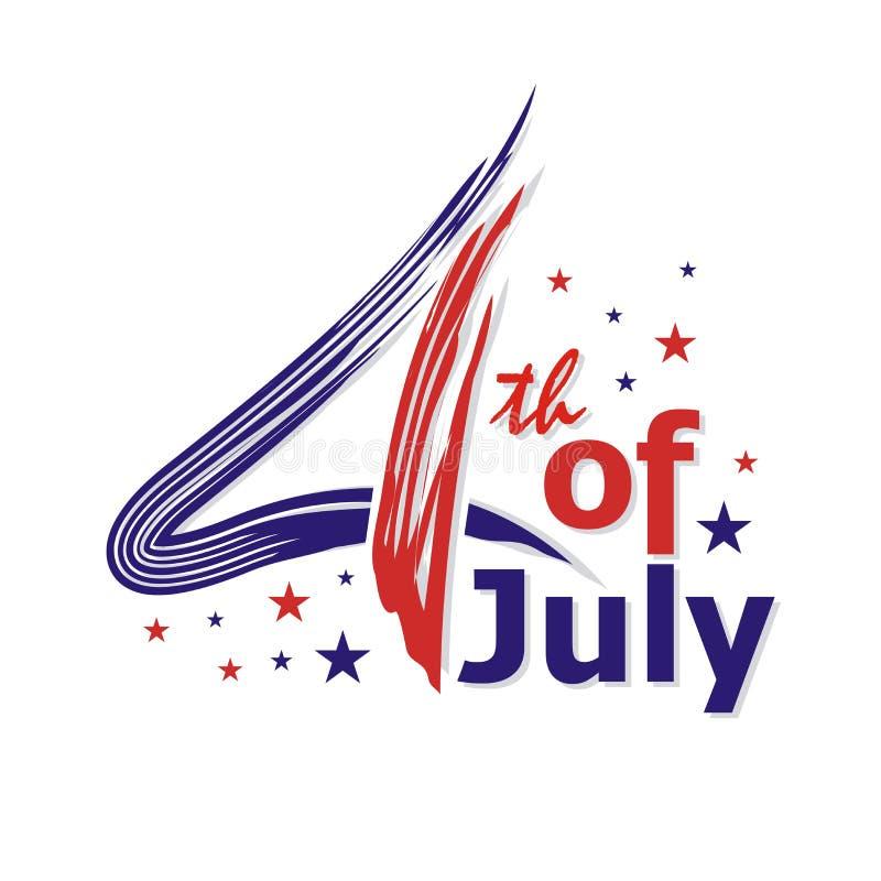 Счастливый 4-ое -го июль, дизайн вектора Дня независимости США иллюстрация штока