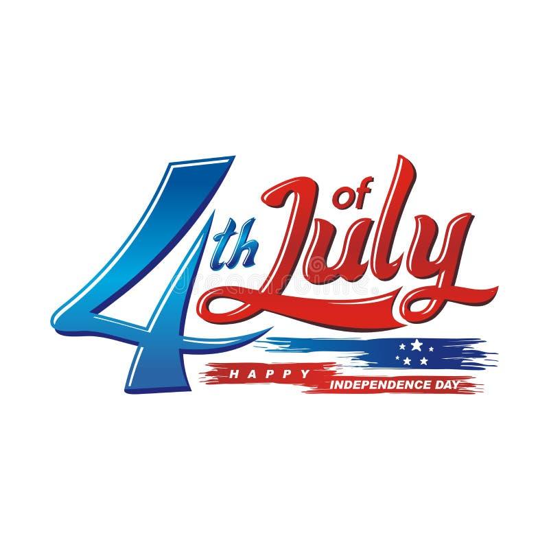 Счастливый 4-ое -го июль, дизайн вектора Дня независимости США иллюстрация вектора