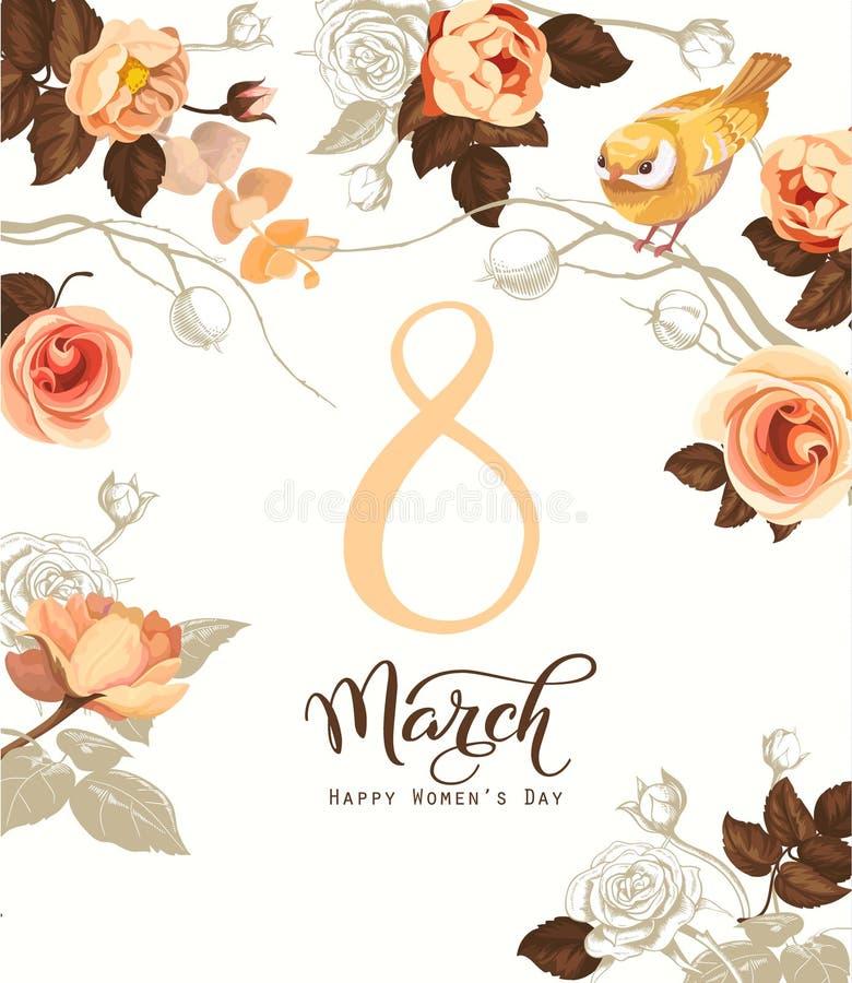 Счастливый 8-ое марта Поздравительная открытка дня женщин s Красивая литерность руки с пуком цветков весны, листьев и голубой пти иллюстрация штока