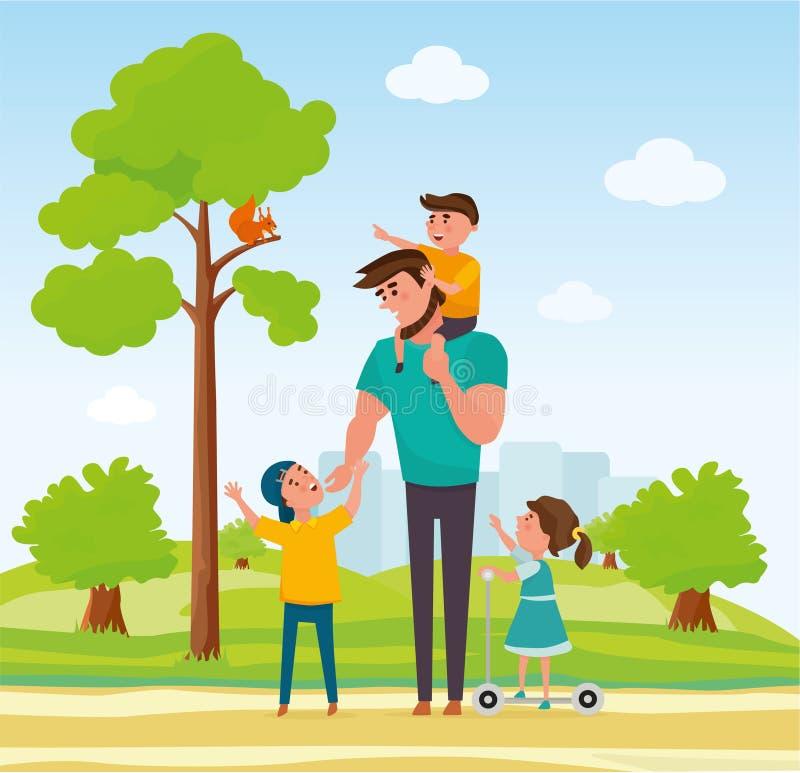 Счастливый отец с 3 детьми в парке Семья в парке Концепция дружелюбной семьи и летних каникулов шарж иллюстрация штока