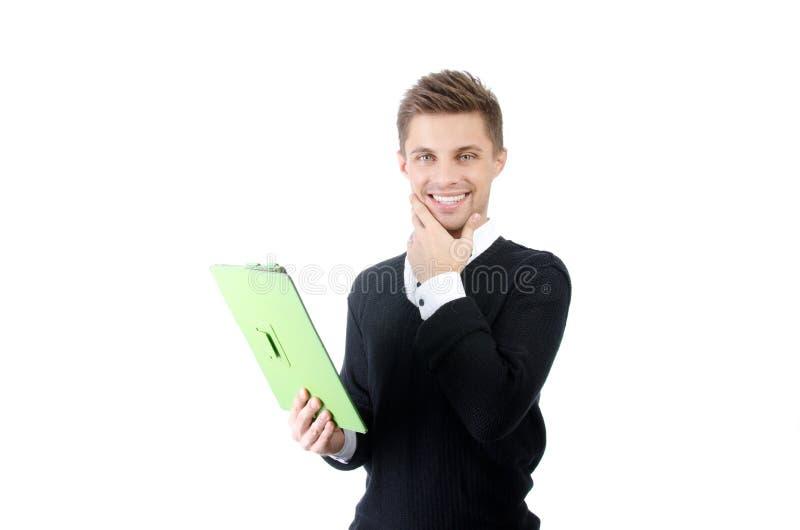 Счастливый парень с таблеткой Привлекательный парень с таблеткой Белая предпосылка стоковое изображение rf