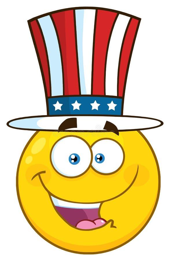 Счастливый патриотический желтый шарж Emoji смотрит на характер нося шляпу США иллюстрация штока