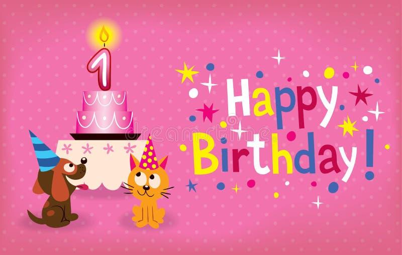 Счастливый первый день рождения иллюстрация штока