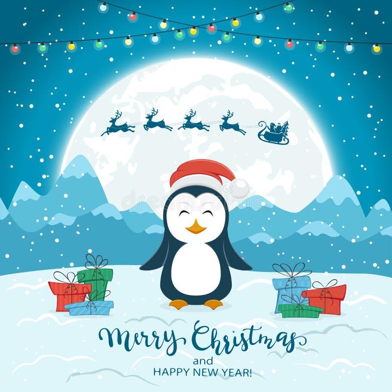 Счастливый пингвин и Санта на голубой предпосылке рождества бесплатная иллюстрация