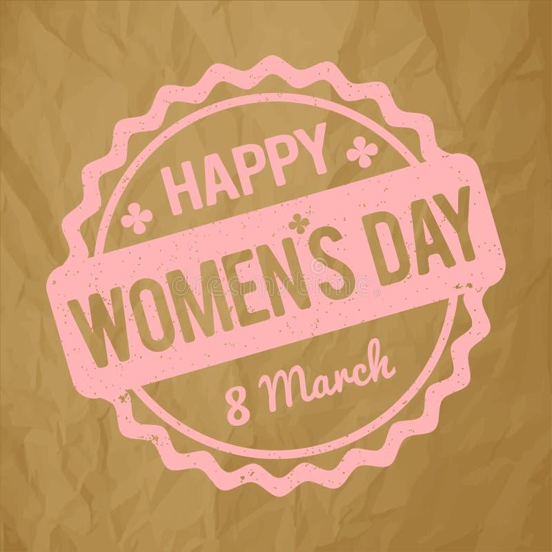 Счастливый пинк младенца избитой фразы дня ` s женщин на скомканной бумажной коричневой предпосылке бесплатная иллюстрация