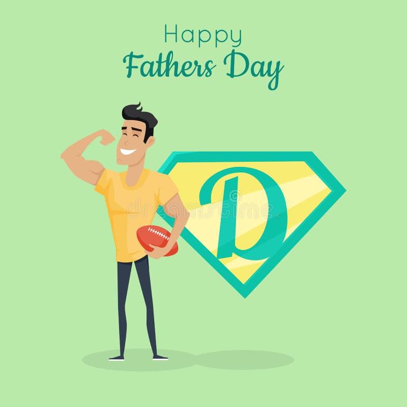 Счастливый плакат дня отцов Спортсмен папы большой иллюстрация вектора