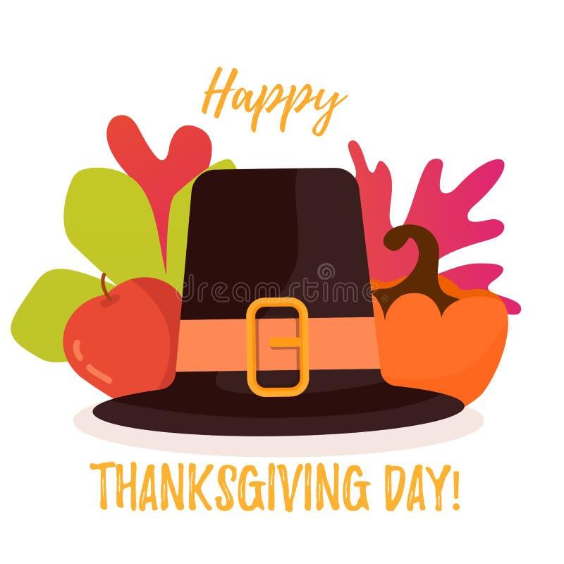 Счастливый плакат официальный праздник в США в память первых колонистов Массачусетса Листья, яблоко и тыква осени за шляпой иллюстрация штока