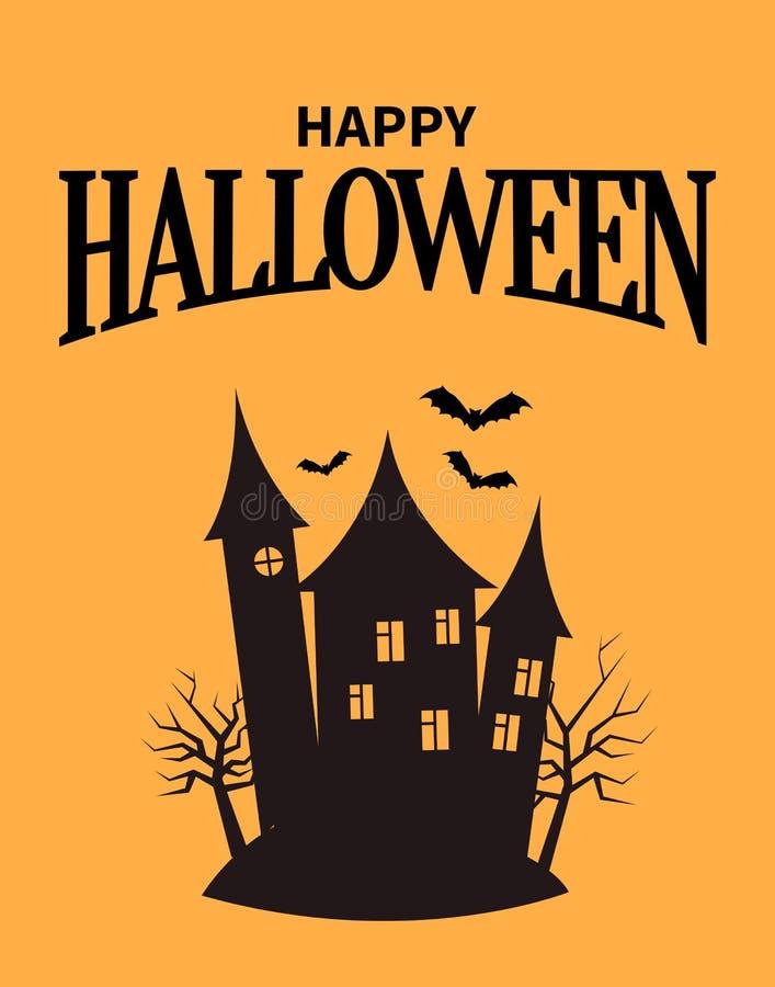 Счастливый плакат хеллоуина с домом крупного плана страшным бесплатная иллюстрация