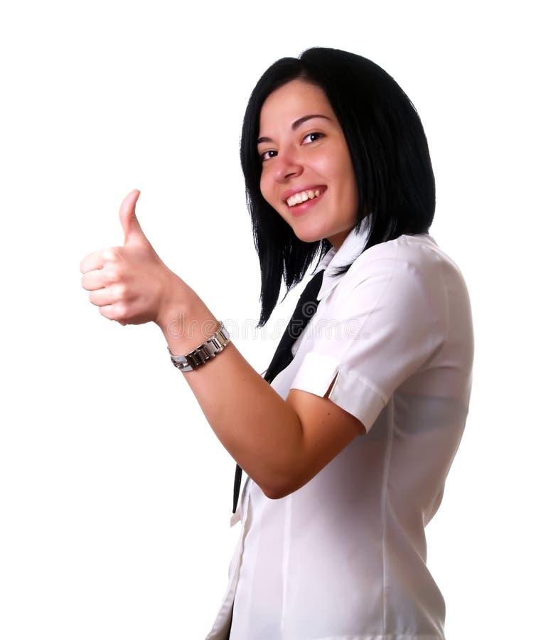 счастливый показывать thumbs вверх по женщине стоковое фото