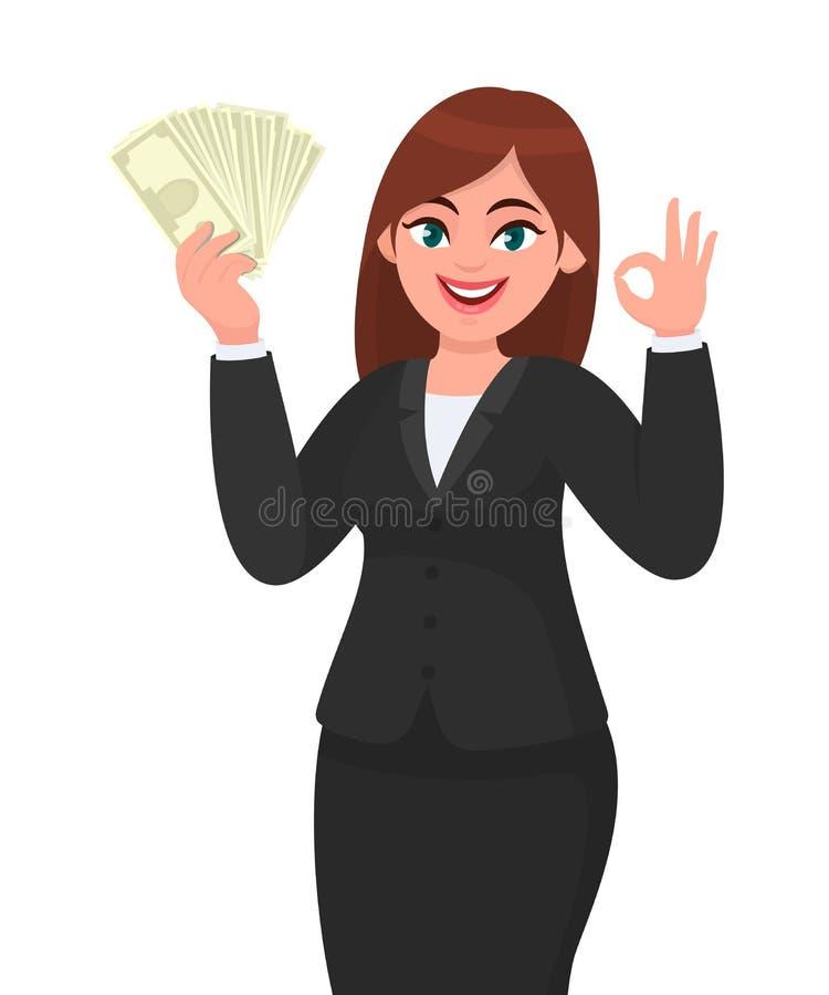Счастливый показ коммерсантки, держа пук денег, наличные деньги, доллар, валюту, банкноты в руке и показывать жестами, делая ок,  иллюстрация вектора