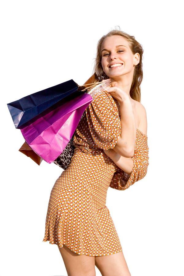 счастливый покупатель предназначенный для подростков стоковое фото