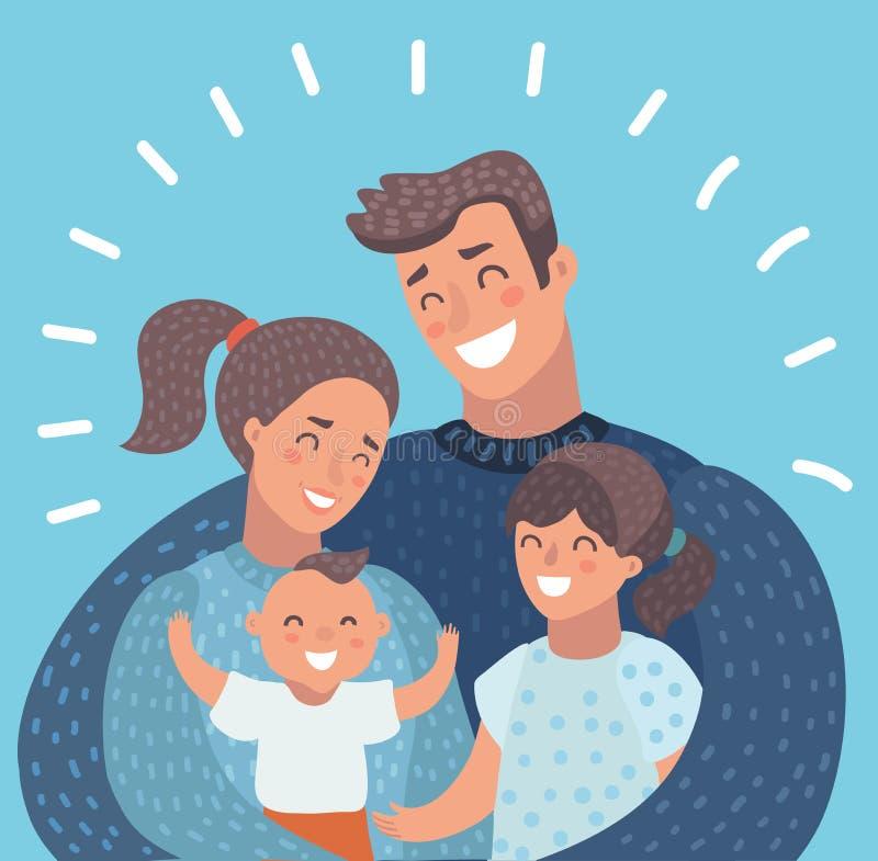 Счастливый портрет характеров семьи иллюстрация вектора