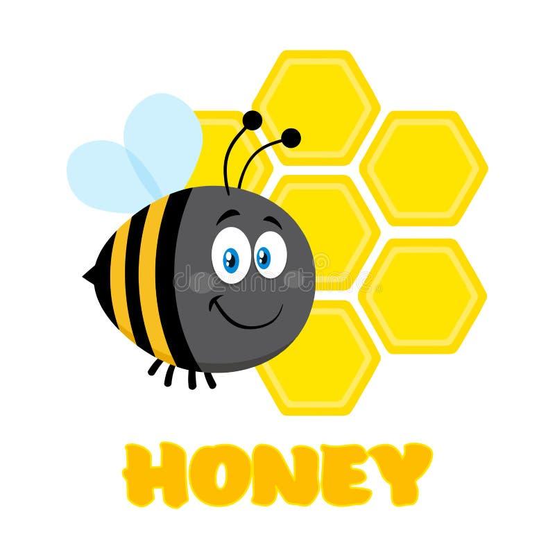 Счастливый путайте летание пчелы персонажа из мультфильма пчелы перед соты с текстом бесплатная иллюстрация