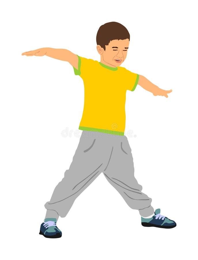 Счастливый радостный ребенк, мальчик делая иллюстрацию вектора тренировок изолированную на белой предпосылке Смешной мальчик игра иллюстрация вектора