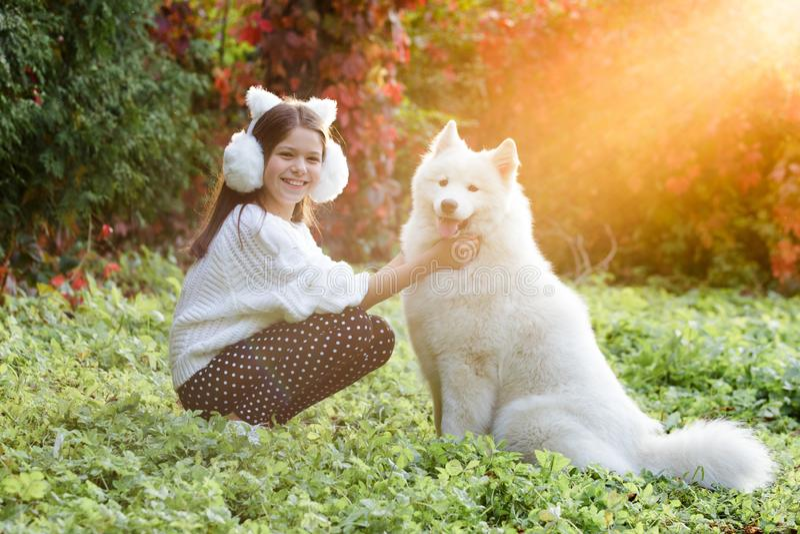 Счастливый ребенок играя с собакой в зеленом поле стоковое фото