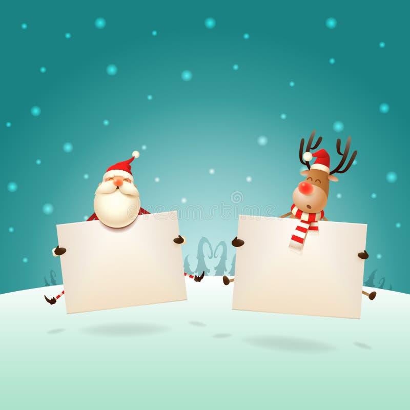 Счастливый Санта Клаус и северный олень скача с досками на ландшафте зимы - приветствии шаблона рождества иллюстрация вектора