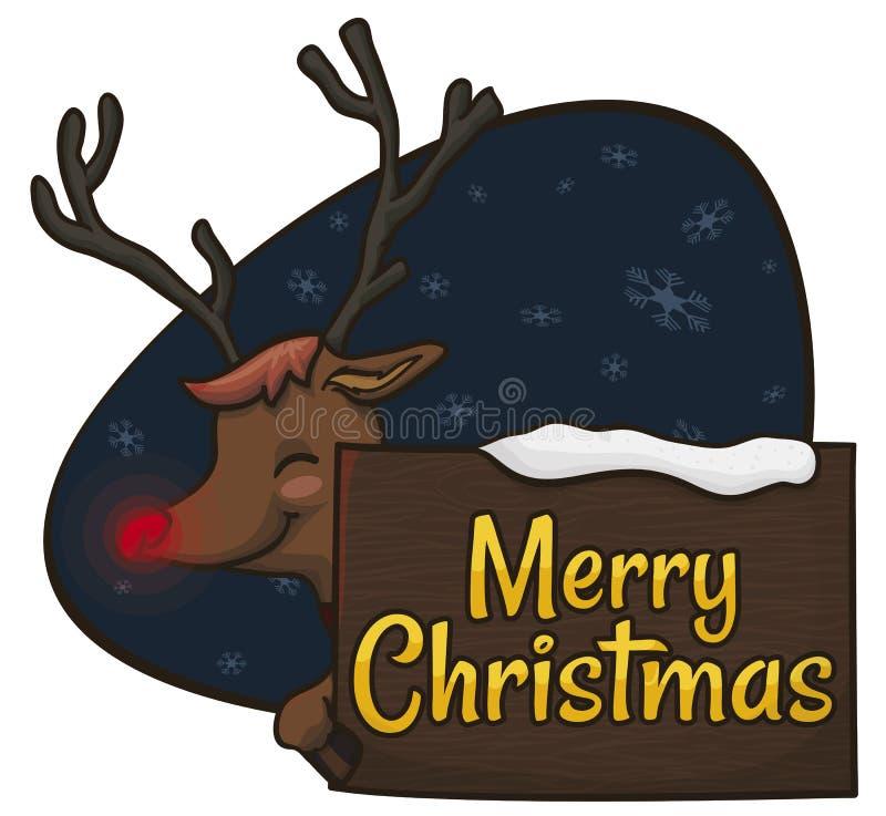 Счастливый северный олень держа коммеморативный знак для рождества, иллюстрации вектора бесплатная иллюстрация